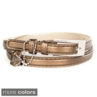 Women's Metallic Crinkle Leather Skinny Belt