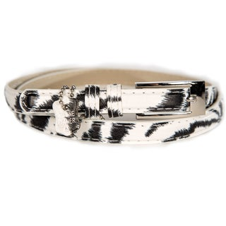 Women's Zebra Print Leather Skinny Belt
