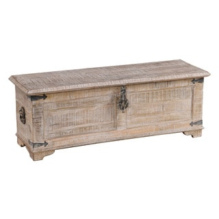 Kosas Home Hilton White Wash Mango Wood Half Chest