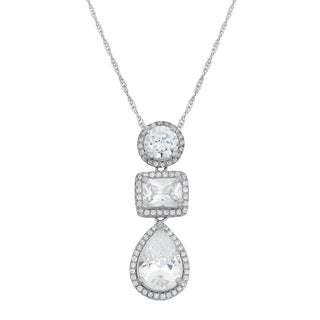 Gioelli Sterling Silver Multi-shaped Cubic Zirconia Dangle Necklace