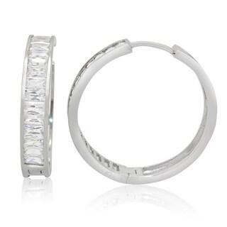 Gioelli Sterling Silver Large Baguette-cut Cubic Zirconia Hoop Earrings