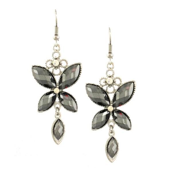 Bleek2Sheek Hematite and Rhinestone Crystal Butterfly Dangle Earrings