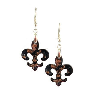 Bleek2Sheek Murano-inspired Black and Gold Fleur de Lis Glass Dangle Earrings