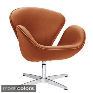 Swan Leather Swivel Arm Chair