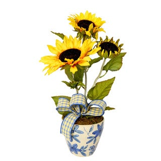 Creative Displays Yellow Sunflowers in Blue and White Ceramic Vase
