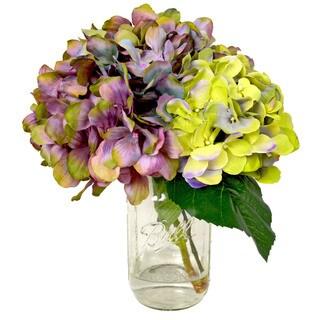 Creative Displays Lavender and Hydrangea Silk Flower Bouquet in Mason Jar Vase