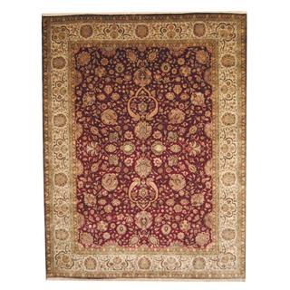 Herat Oriental Afghan Hand-knotted Vegetable Dye Ziegler Burgundy/ Ivory Wool Rug (9' x 11'9)