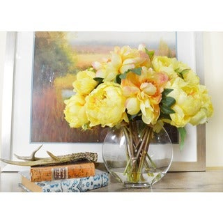 Creative Displays Bouquet of Yellow Peonies in a Round, Acrylic Water Filled Glass Vase