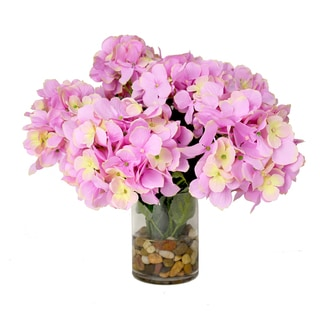 Creative Displays Pink Hydrangea in Rock Filled Glass Vase with Acrylic Water