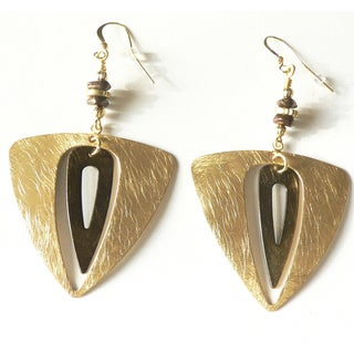 Palmtree Gems 'Ursula' Goldtone Double Triangle Dangle Earrings