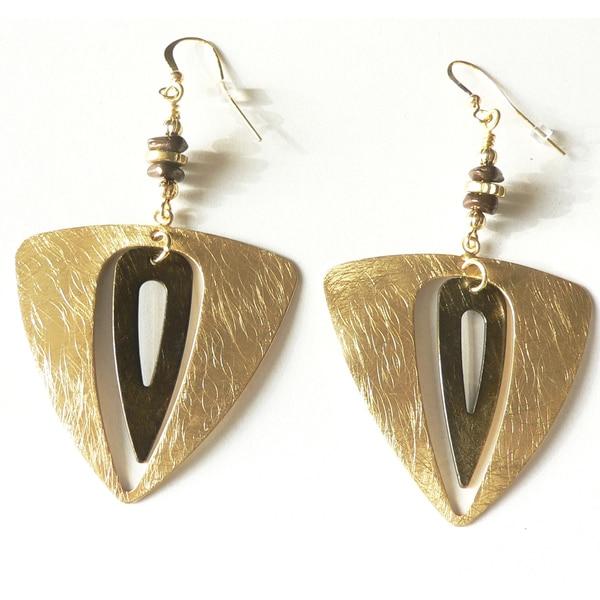 Palmtree Gems 'Ursula' Goldtone Double Triangle Dangle Earrings
