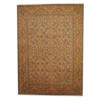 Herat Oriental Afghan Hand-knotted Vegetable Dye Ziegler Beige/ Gold Wool Rug (9' x 12'4)