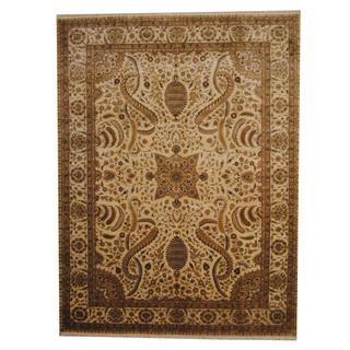 Herat Oriental Afghan Hand-knotted Vegetable Dye Ziegler Ivory/ Beige Wool Rug (9' x 12')
