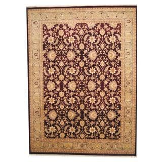 Herat Oriental Indo Hand-knotted Vegetable Dye Ziegler Burgundy/ Green Wool Rug (9' x 12'2)