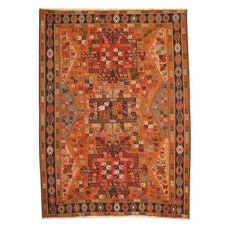 Herat Oriental Afghan Hand-woven Vegetable Dye Soumak Rust/ Navy Wool Rug (8'4 x 11'5)