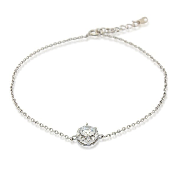 Gioelli Sterling Silver 6mm Round-cut Cubic Zirconia Bracelet