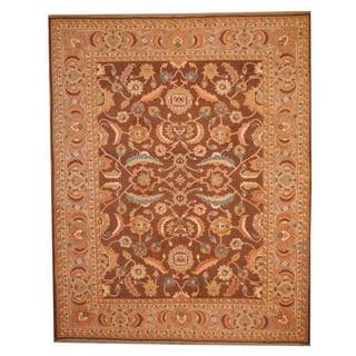 Herat Oriental Afghan Hand-woven Vegetable Dye Soumak Brown/ Ivory Wool Rug (9'8 x 12')