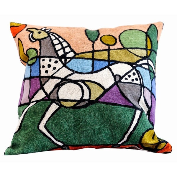 Handmade Wool/ Cotton Horse Design Decorative Pillow (India)