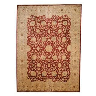 Herat Oriental Afghan Hand-knotted Vegetable Dye Ziegler Burgundy/ Ivory Wool Rug (8'10 x 10'10)