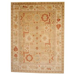 Herat Oriental Indo Hand-knotted Vegetable Dye Oushak Beige/ Ivory Wool Rug (9' x 12')