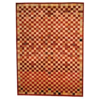 Herat Oriental Afghan Hand-knotted Vegetable Dye Tibetan Red/ Brown Wool Rug (9' x 12'4)