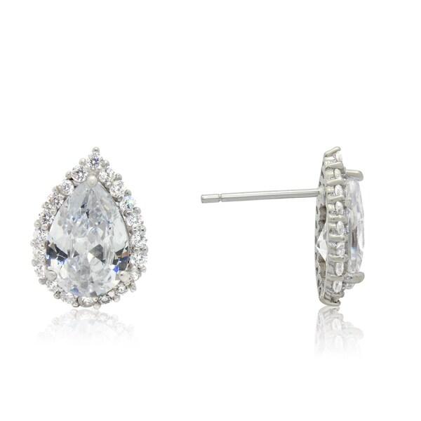 Gioelli Sterling Silver Pear-cut Cubic Zirconia Stud Earrings