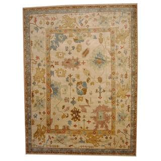Herat Oriental Indo Hand-knotted Vegetable Dye Oushak Ivory/ Gold Wool Rug (9'2 x 12'2)