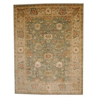 Herat Oriental Indo Hand-knotted Vegetable Dye Oushak Green/ Beige Wool Rug (9' x 12')