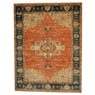 Herat Oriental Indo Hand-knotted Vegetable Dye Serapi Rust/ Blue Wool Rug (9' x 12')