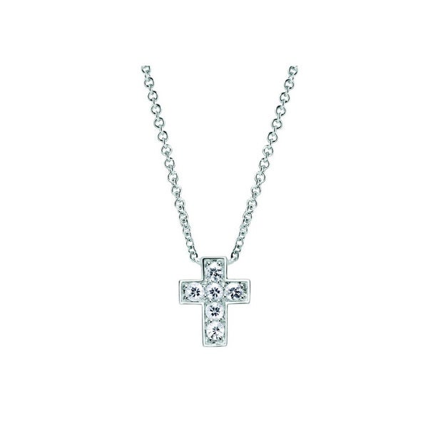 Sterling Silver White Sapphire Cross Necklace