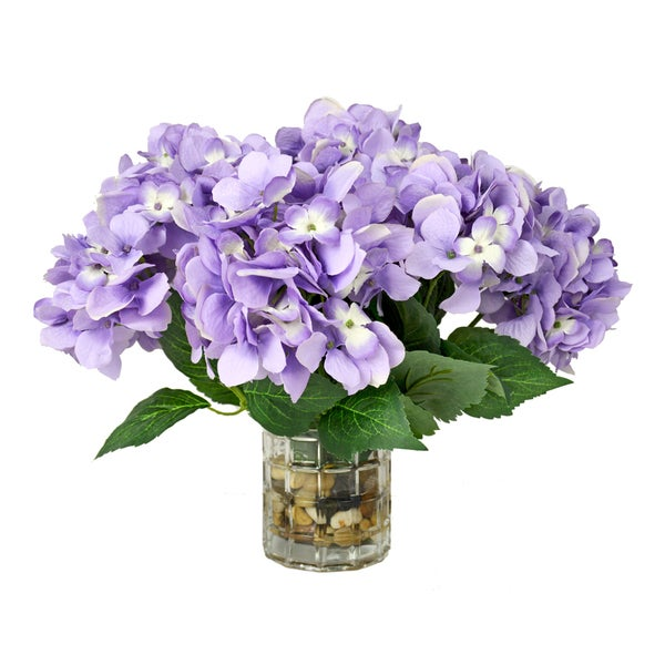 Lavender/ Hydrangea Floral Arrangement in Glass Vase