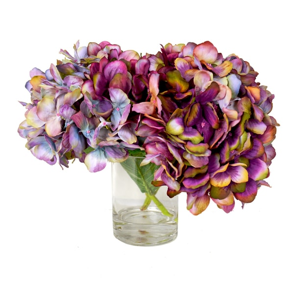 Kaleidoscope Hydrangea Floral Arrangement in Glass Vase