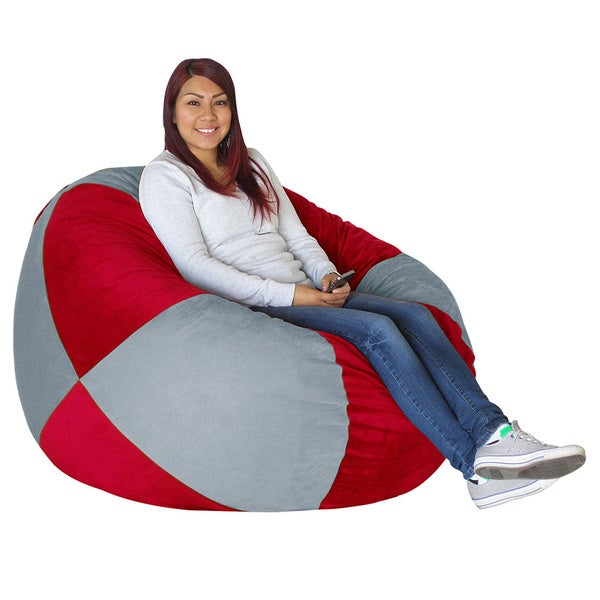 Koala Foam Grey/ Scarlet Red Shredded Foam Bag Bean Bag