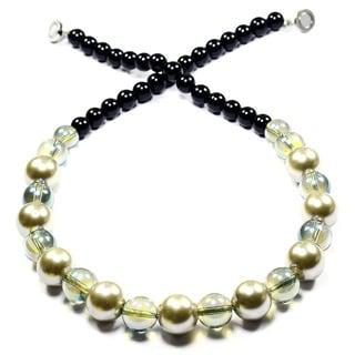 Madame Earth White Pearl/ Mystic Fire Crystal Semi-precious Gemstone Bead Necklace