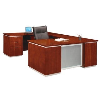 "DMI Office Furniture Pimlico Veneer Cherry Finish Left Executive ""U"" Shaped Desk"