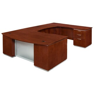 "DMI Office Furniture Pimlico Veneer Cherry Finish Right Executive Bow Front ""U"" Shaped Desk"
