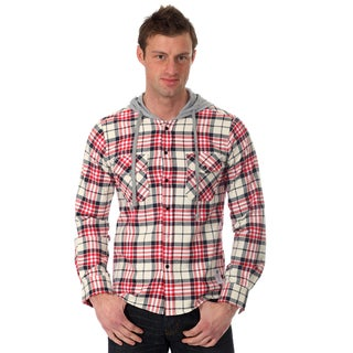 Something Strong Men's Long sleeve hooded flannel shirt in White