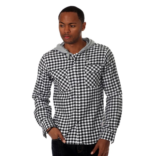 Something Strong Men's Long sleeve hooded flannel shirt in Black/White