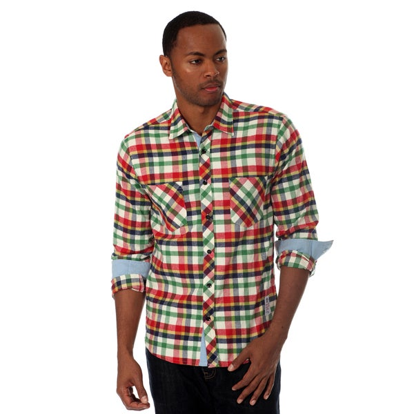 Something Strong Men's Flannel Shirt in Red Multi