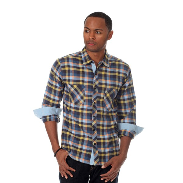 Something Strong Men's Flannel Shirt in Blue Multi