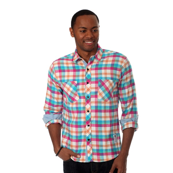Something Strong Men's Flannel Shirt in Pink Multi