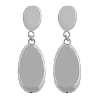 Fremada Rhodiumplated Silver Electroform Oval Bead Dangle Earrings