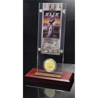 New England Patriots Super Bowl XLIX Champions Ticket and Bronze Coin Acrylic Desk Top