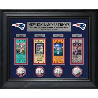 New England Patriots 4-time Super Bowl Champions Deluxe Silver Coin and Ticket Collection
