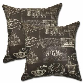 Paris Chocolate 22-inch Decorative Throw Pillows (Set of 2)