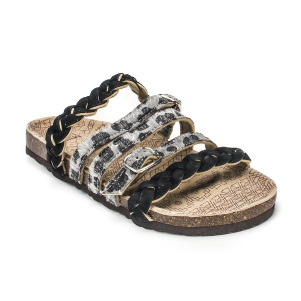 Muk Luks Women's 'Mary' Grey Leopard Print Strappy Sandals