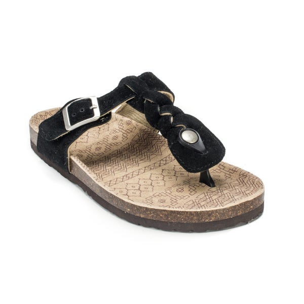 Muk Luks Women's 'Marie' Black Suede Terra Turf Sandals