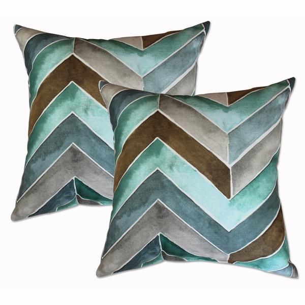 Hue Azure 22-inch Decorative Throw Pillows (Set of 2)