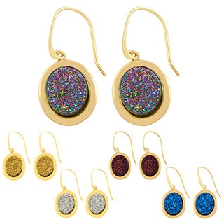 Gold over Sterling Silver Oval Drusy Dangle Earrings