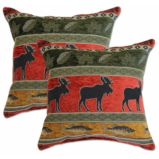 Woodstock Red Pair 22-inch Decorative Throw Pillows (Set of 2)